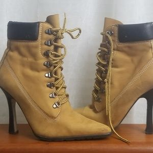 Andrew Steven's heeled boots in camel 8.5